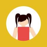 faceles dziewczyny dzieciaka emblemat wśród barwionego ramowego ikona wizerunku Zdjęcie Stock