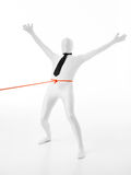 Faceles man held by orange rope Royalty Free Stock Images