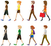 Faceless boys and girls walking Stock Images