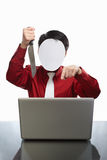 Faceless businessman and laptop Royalty Free Stock Images