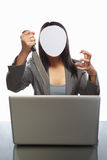 Faceless businessman and laptop Royalty Free Stock Photography