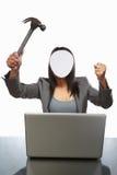 Faceless businessman and laptop Stock Image