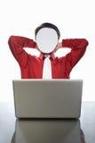 Faceless businessman and laptop Stock Photo