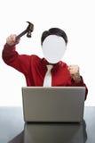 Faceless businessman and laptop Royalty Free Stock Photos