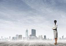 Concept of security and privacy protection with camera headed woman Royalty Free Stock Photo