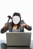 Faceless businesswoman and laptop Royalty Free Stock Photography