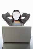 Faceless businesswoman and laptop Stock Photo