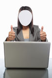Faceless businesswoman and laptop Stock Photography