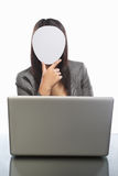 Faceless businesswoman and laptop Royalty Free Stock Image