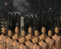 Faceless before city. High Resolution Illustration Faceless before city Stock Image
