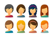 Faceless female avatars with various hair styles Royalty Free Stock Image