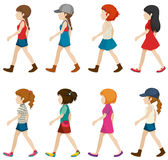 Faceless female teenagers. On a white background Royalty Free Stock Photography