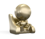 Faceless gold robot on the leather chair Royalty Free Stock Image
