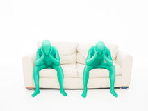 Faceless green men thinking Stock Photo