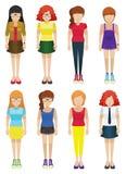 Faceless ladies. Eight faceless ladies on a white background Royalty Free Stock Photo