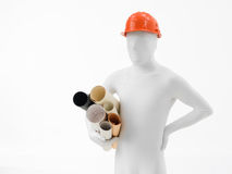 Faceless mam with blueprints roll Stock Photo