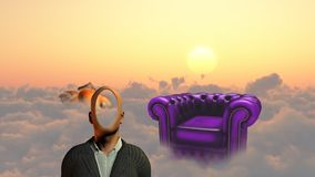 Faceless. Man above clouds. Golden fish and armchair. This image created in entirety by me and is entirely owned by me and is entirely legal for me to sell and Royalty Free Stock Images