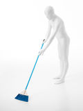Faceless man with broom. Unrecognizable faceless man dressed in a white suit, sweeping the floorwith blue broom Stock Images