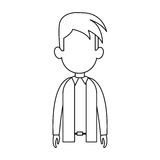 Faceless man cartoon icon image. Faceless man with youthful haircut cartoon icon image  illustration design Stock Images