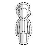 Faceless man cartoon icon image. Faceless man with youthful haircut cartoon icon image  illustration design  sticker Stock Photo