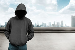 Faceless man in hood Royalty Free Stock Images