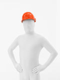 Faceless man orange helmet Royalty Free Stock Photo