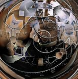 The time twister. Faceless man and time spirals. Human elements were created with 3D software and are not from any actual human likenesses vector illustration
