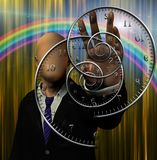 The time twister. Faceless man and time spirals. Human elements were created with 3D software and are not from any actual human likenesses royalty free illustration