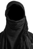 Faceless man under black veils, isolated on white background. Faceless man under black veils. isolated on white background royalty free stock photo