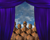 Faceless Masses behind curtain Stock Photo