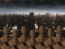 Faceless masses before ruins. High Resolution Faceless masses before ruins Royalty Free Stock Images