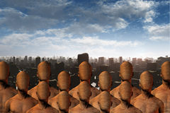 Faceless masses before ruins. High Resolution 3D Illustration Faceless masses before ruins Stock Photo