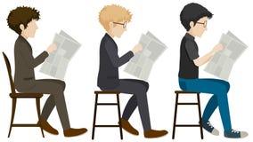 Faceless men reading Stock Photos