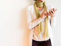 Faceless middle aged woman using smart phone Royalty Free Stock Photo