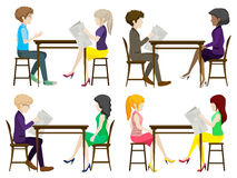 Faceless people discussing at the table Royalty Free Stock Images