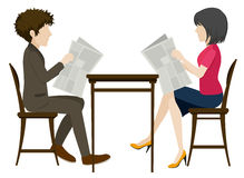 Faceless people with newspapers Royalty Free Stock Photo