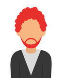faceless red hair man with beard portrait icon Stock Image