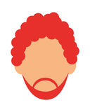 faceless red hair man with beard portrait icon Stock Photography
