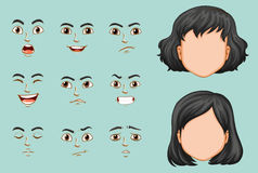 Faceless woman with different expressions set Royalty Free Stock Photos