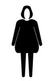Faceless woman figure - black silhouette vector. Isolated on white background Royalty Free Stock Images