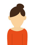 faceless woman with high bun portrait icon Royalty Free Stock Images
