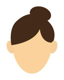 Faceless woman with high bun portrait icon. Simple flat design faceless woman with high bun portrait icon  illustration Stock Photo