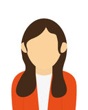 faceless woman with long brown hair portrait icon Royalty Free Stock Photos