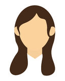 faceless woman with long brown hair portrait icon Stock Image