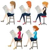Faceless women reading stock illustration