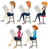 Faceless women reading Royalty Free Stock Photos