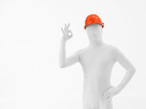 Faceless worker ok sign Stock Images