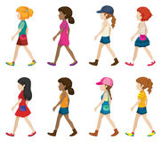 Faceless young girls walking Royalty Free Stock Photos