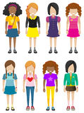 Faceless young ladies. Eight faceless young ladies on a white background Stock Photo