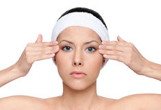 Facelift for a young pretty woman stock photos